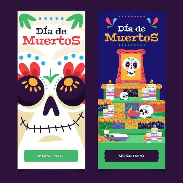 Баннеры с плоским дизайном dia de muertos Бесплатные векторы