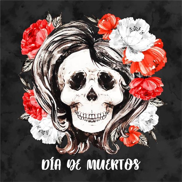 Dia de muertos цветочный фон черепа Бесплатные векторы