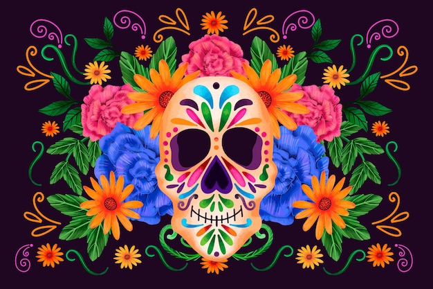 Dia de muertos front view skull with flowers background Free Vector
