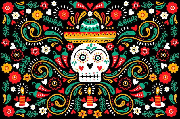 Dia de muertos front view skull with sombrero background Free Vector