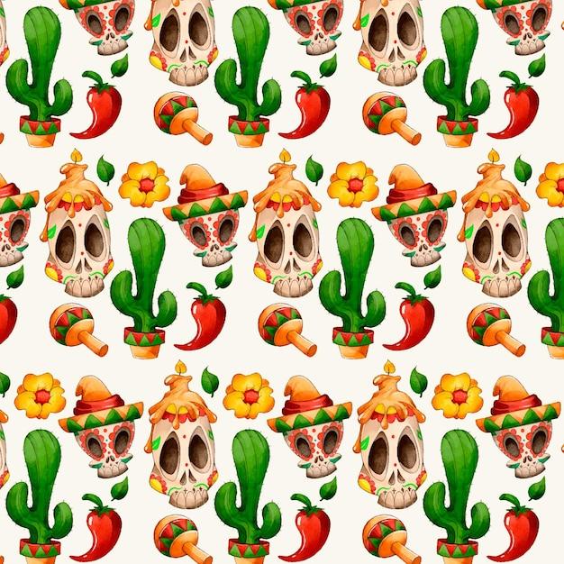 Día de muertos hand drawn pattern Free Vector