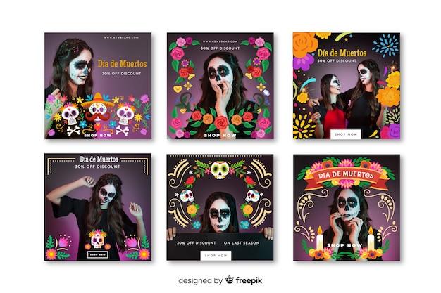 Día de muertos instagram post collection Free Vector