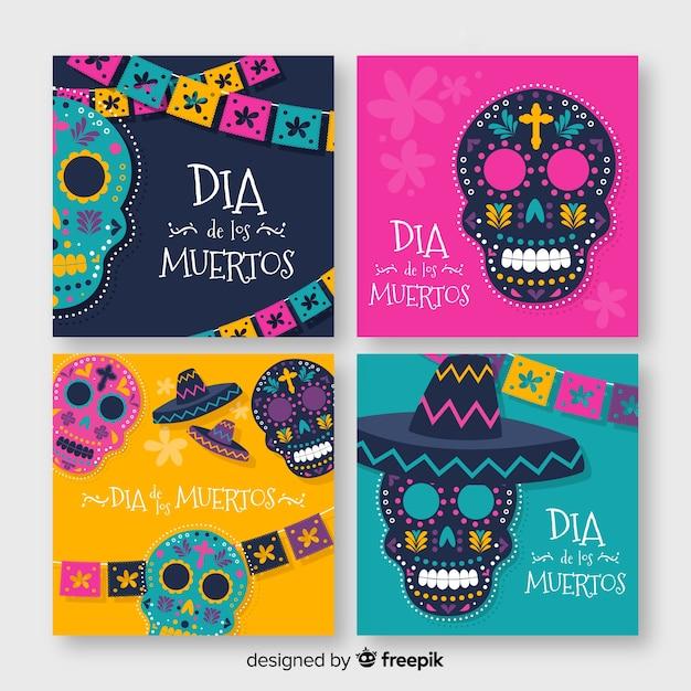 Dia de muertos instagram post collection Free Vector