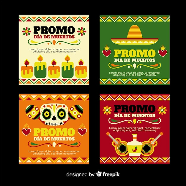 Día de muertos instagram post collection Free Vector