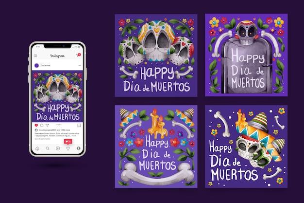 Set di post di instagram día de muertos Vettore gratuito
