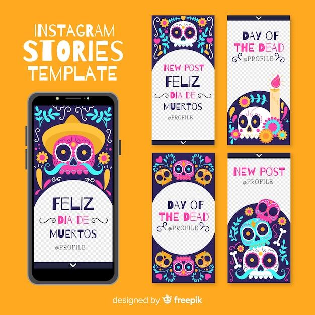 Día de muertos instagram stories collection Free Vector