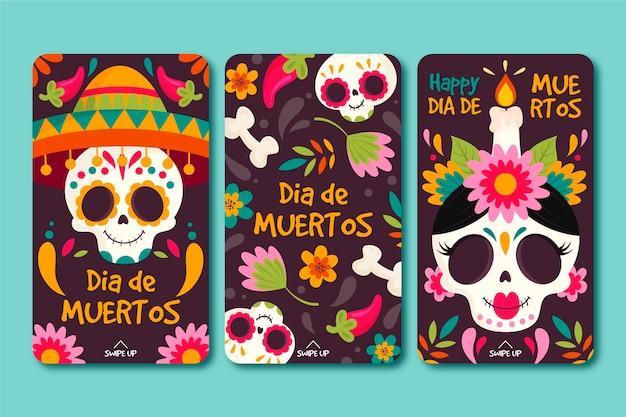 Día de muertos instagram stories collection Premium Vector