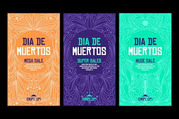 Сборник историй instagram día de muertos Бесплатные векторы