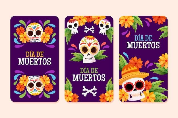 Dia de muertos instagram stories collection Free Vector
