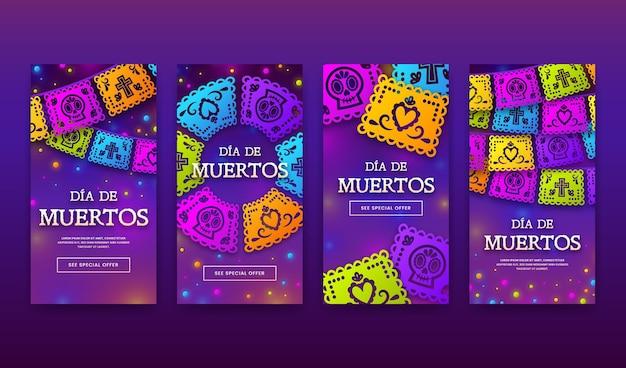 Коллекция рассказов dia de muertos instagram Бесплатные векторы