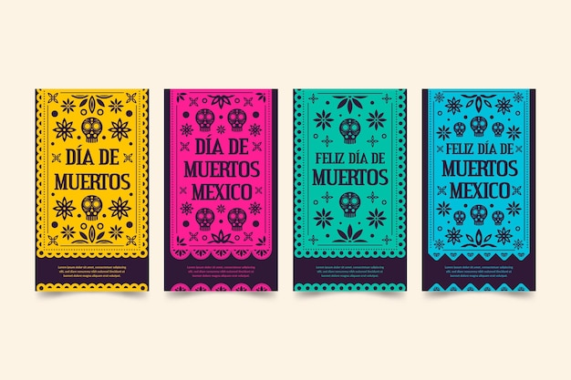 Día de muertos instagram stories collection Free Vector