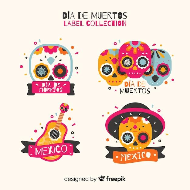 Día de muertos label collection Free Vector