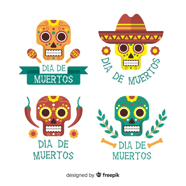 Dia de muertos label collection Free Vector