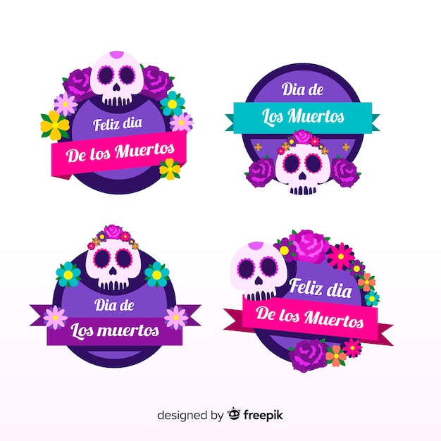 Dia de muertos label collection Free Vector