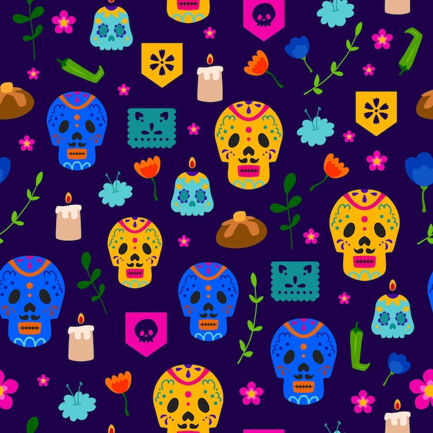 Dia de muertos pattern in flat design Free Vector
