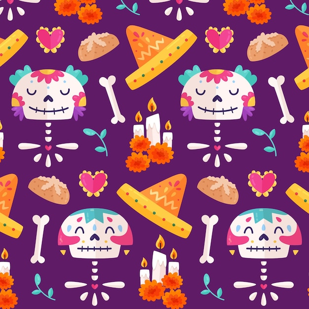 Шаблон dia de muertos в плоском дизайне Бесплатные векторы