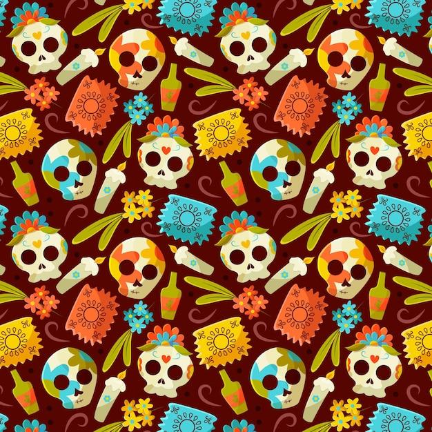 평면 디자인의 dia de muertos 패턴 무료 벡터