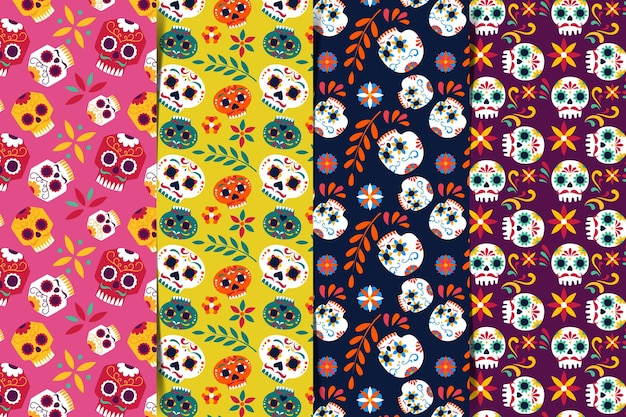 평면 디자인의 Día De Muertos 패턴 프리미엄 벡터