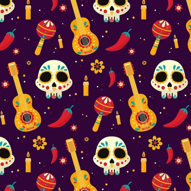 평면 디자인의 día de muertos 패턴 무료 벡터