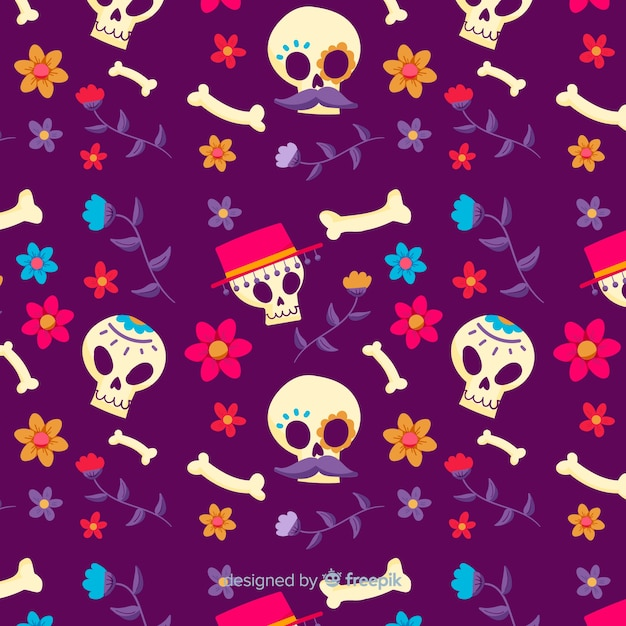 Dia de muertos seamless pattern in hand drawn design Free Vector