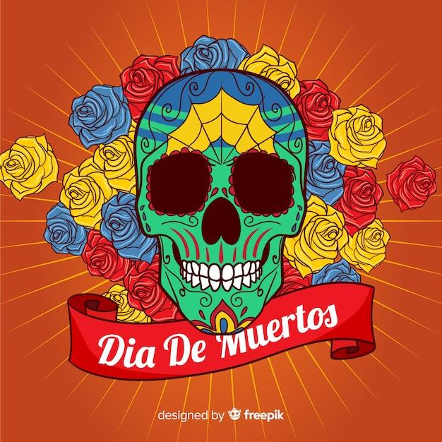 Dia de muertos skull background with roses Free Vector