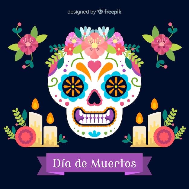 Dia de muertos skull background Free Vector