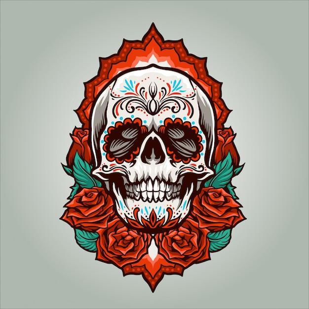 Dia de muertos skull illustration Premium Vector