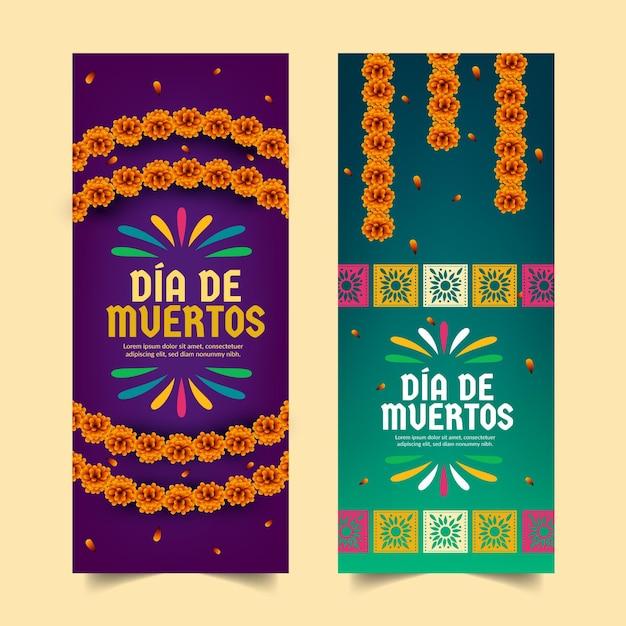 Dia de muertos vertical banners Premium Vector