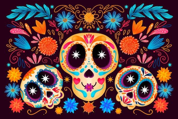 Dia de muertos watercolour skulls background Free Vector