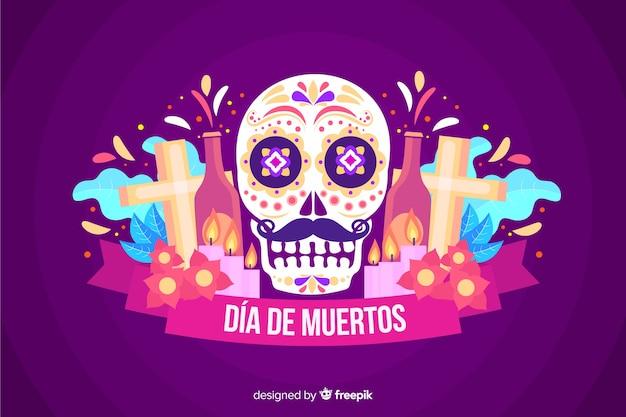 Красочный фон dia de muertos в плоском дизайне Бесплатные векторы
