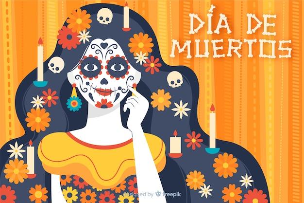 Dia de muertos фон в плоском дизайне Бесплатные векторы