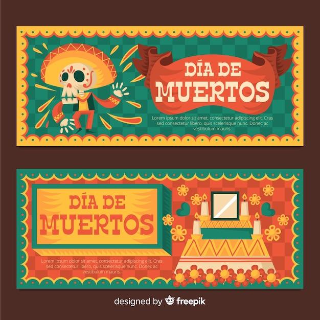 Dia de muertos баннеры в плоском дизайне Бесплатные векторы