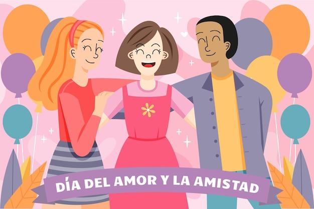 Dia del amor y amistad with three people Free Vector