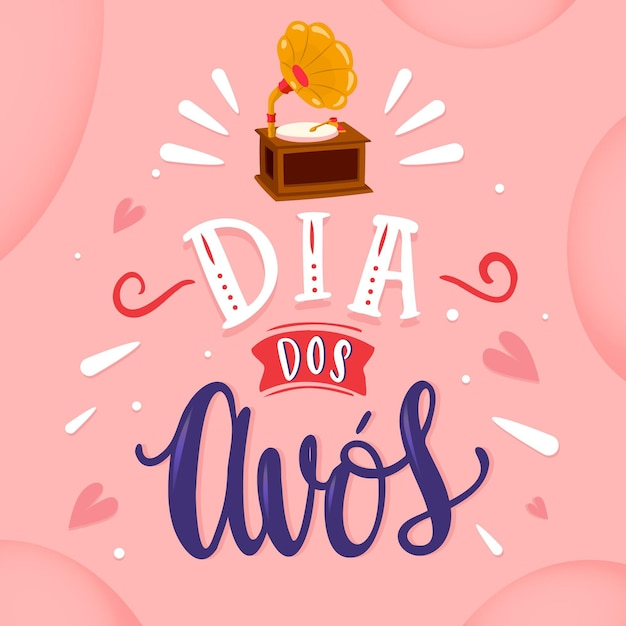 Dia dos avos надпись Бесплатные векторы