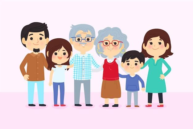 Dia dos avós с семьей Бесплатные векторы