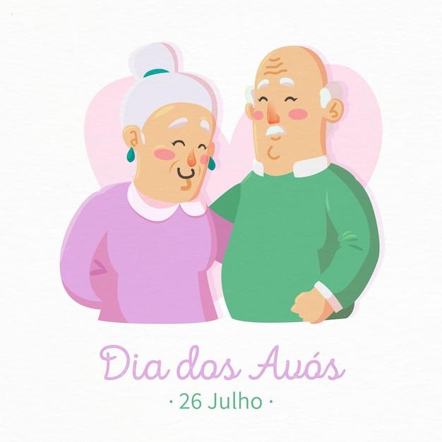Dia dos avós со старшей парой Бесплатные векторы