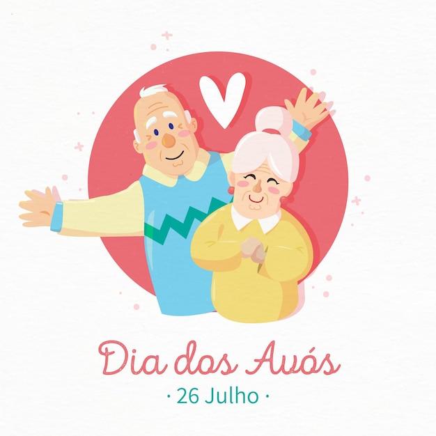 Dia dos avós со старшими бабушкой и дедушкой Бесплатные векторы