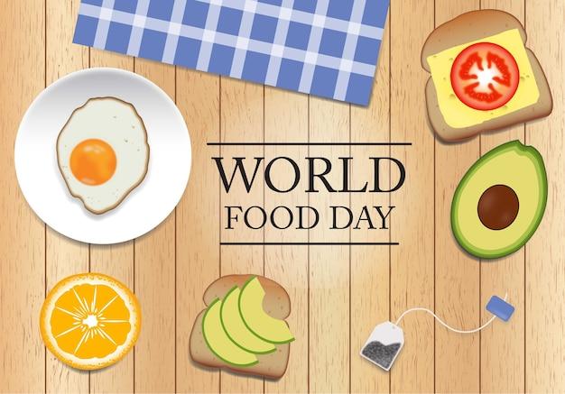Día mundial de la alimentación sobre fondo de madera Premium Vector