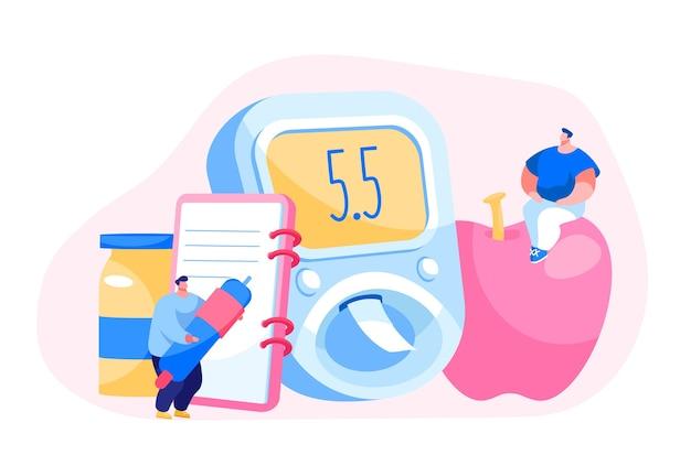 Проверка уровня сахара в крови при диабете на цифровом глюкометре Premium векторы