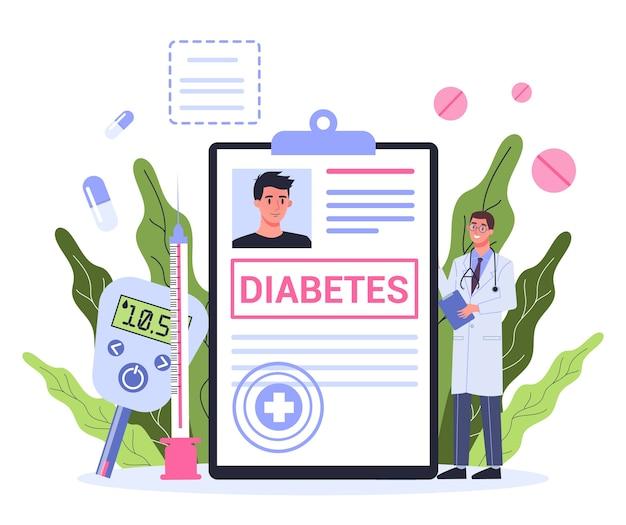 Концепция диабета. измерение сахара в крови глюкометром. врач с диагнозом. идея здравоохранения и лечения. Premium векторы