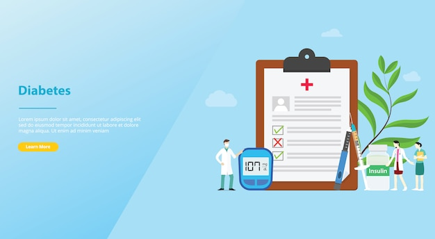 Diabetes concept medical health report concept for website template or landing homepage Premium Vector