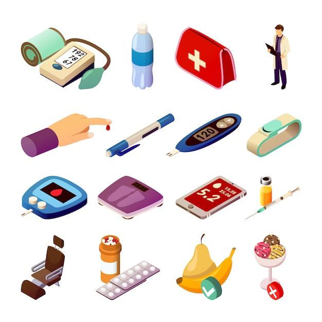 Диабет контроль изометрические иконы Бесплатные векторы