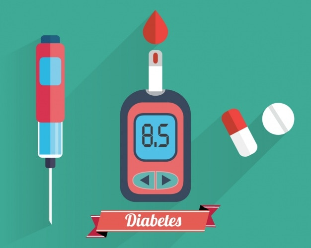 Diabetes elements collection Free Vector