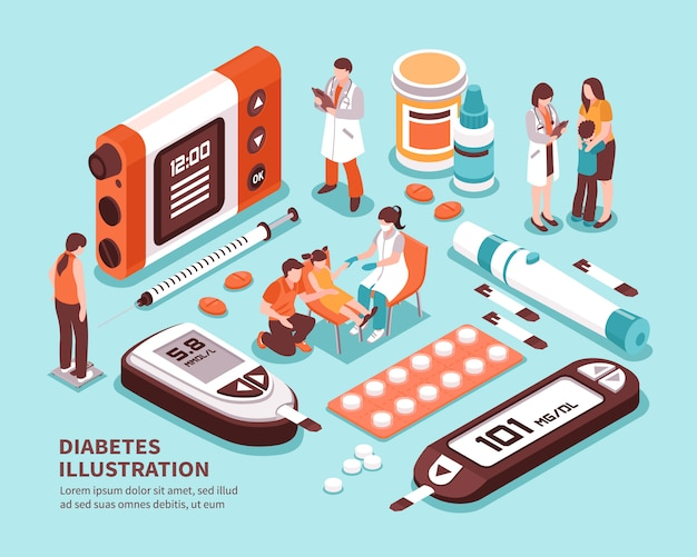 Diabetes isometric composition Free Vector