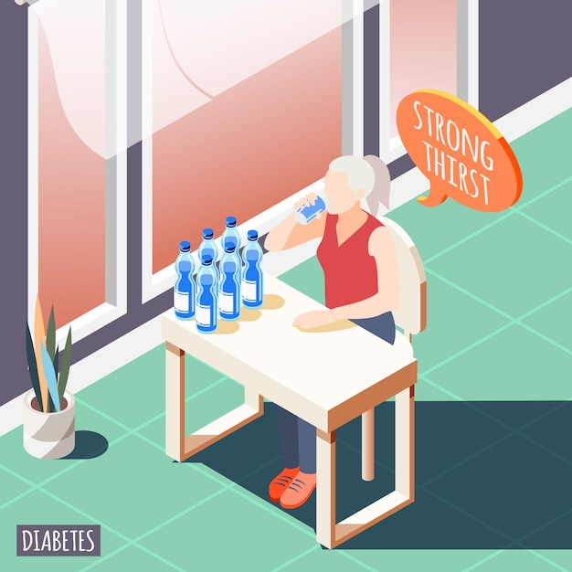 Diabetes isometric with diseased women feeling strong thirst and drinks water vector illustration Free Vector