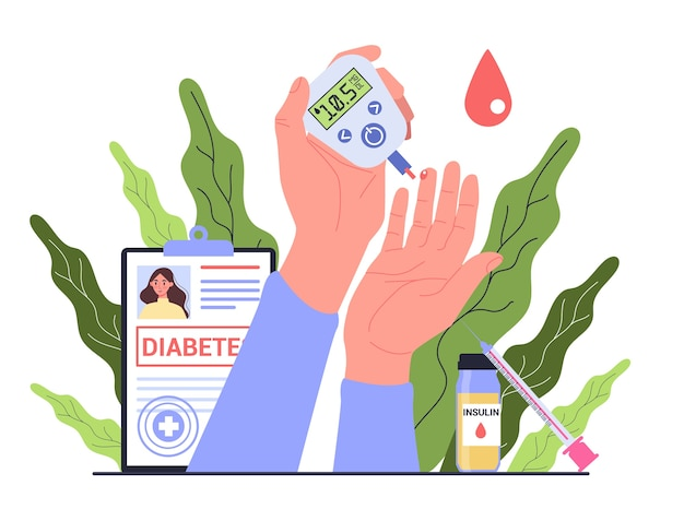 Диабет . измерение сахара в крови глюкометром. всемирный день осведомленности о диабете. идея здравоохранения и лечения. Premium векторы