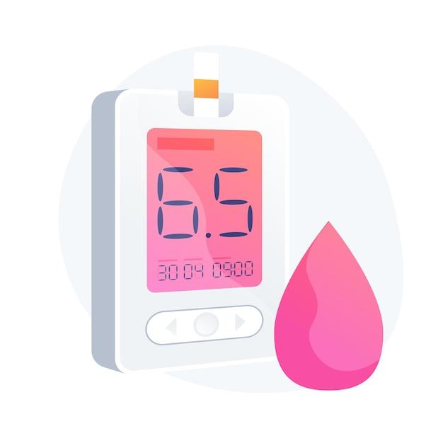 Сахарный диабет. инструмент для измерения уровня сахара в крови, медицинское оборудование, элемент дизайна идеи диабетологии. заболевания гипогликемии, диагностика гликемии. векторная иллюстрация изолированных концепции метафоры Бесплатные векторы