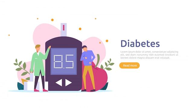 Концепция мониторинга сахарного диабета. измерения уровня сахара в крови с помощью измерителя уровня глюкозы. инъекционное лечение инсулином и диетотерапия. шаблон иллюстрации для целевой веб-страницы Premium векторы