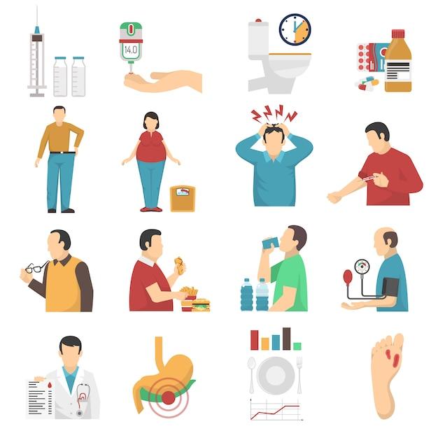 Набор иконок симптомы диабета Бесплатные векторы