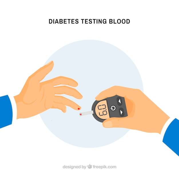 Diabetes testing blood background Free Vector
